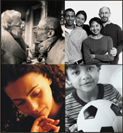 Four photographs: a mature couple looking at each other, four people smiling, a young boy holding a soccer ball, and the face of a woman